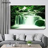 KWzEQ Leinwanddrucke Grünes Steinwasserfallwandkunstplakatplakat und Bilder für Wohnzimmer70x105cmRahmenlose Malerei