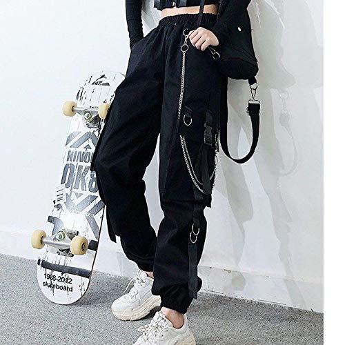 haochenli188 Frauen Elastic Waist Loose Streetwear Cargo Pants Damenmode KnöChellange Jogging-Sporthose Damen Casual Pant XXXL Schwarz