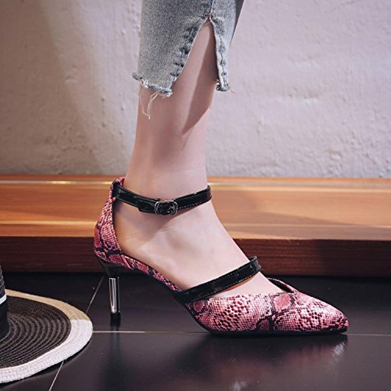 JUWOJIA High-Heeled Sommer Sommer Sommer Toe Muster Ankle Strap Buckle Feine die Ferse Frauen Sandalen 3 Farbe  59141c