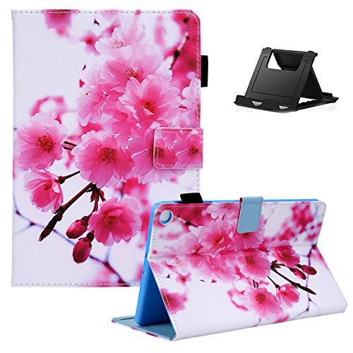 Shinyzone Tablet Hülle Kompatibel mit Samsung Galaxy Tab A7 2020 10.4 T500/T505/T507 mit Stifthalter,PU Leder Tasche Schutzhülle mit [Auto Schlaf/Wachen][Handy Ständer],Kirschblüten