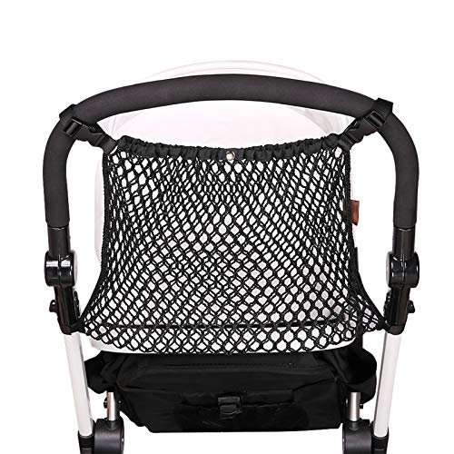Universal Baby Stroller Organizer Polyester Net Mesh Storage Bag with Extra Large Storage Space, Non-Slip and Adjustable Stroller Accessories for Carrying Diaper Toys and Snacks (Black)