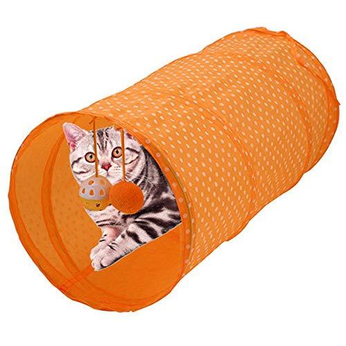 Pssopp tunnel, voor huisdieren, opvouwbaar, voor katten, tent, lang, tunnel, bed, speelgoed, tunnel, kat, speelgoed, interactief spelen, voor het verstoppen van tunnels, voor katten, puppy's en honden, Oranje