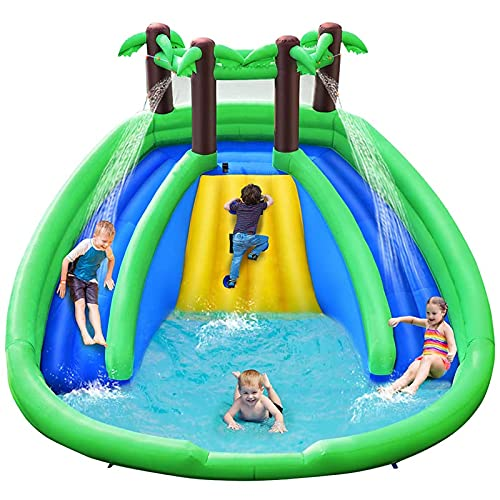 FGVDJ Aufblasbarer Wasserpark, Dschungel-Wasserrutsche mit großem Planschbecken, doppelte Lange Rutsche, Kletterwand, inklusive Reparaturset, Stangen, Schlauch, Kinder für Indoor Ou