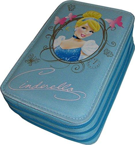Cartorama Astuccio 3 Zip Originale CENERENTOLA - CINDERELLA - Disney Princess - Completo di 46 Pezzi (CELESTE)
