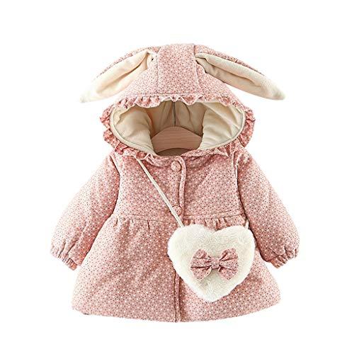 MOMBIY Baby Mantel herzförmiges Schulranzen-Set Mädchen Mäntel aus Baumwolle Frühlung Herbst Winter Jacken mit Haarballen Kaninchen Ohr Kleinkinder warm Kleidung