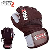 PRO 2 Best Weightlifting Gloves With Integrated Wrist Wrap Support For Fitness, WOD, Gym Workout & Powerlifting -Made with best material - For Men & Women