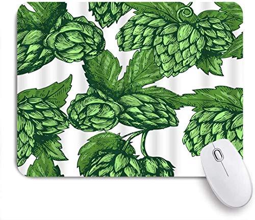 Personalisierte rechteckige Mauspad, grüne Blätter künstlerische Bier Hopfen trinken Zweig Natur Pflanze Skizze, Tischsets, Gaming Office Dekor,