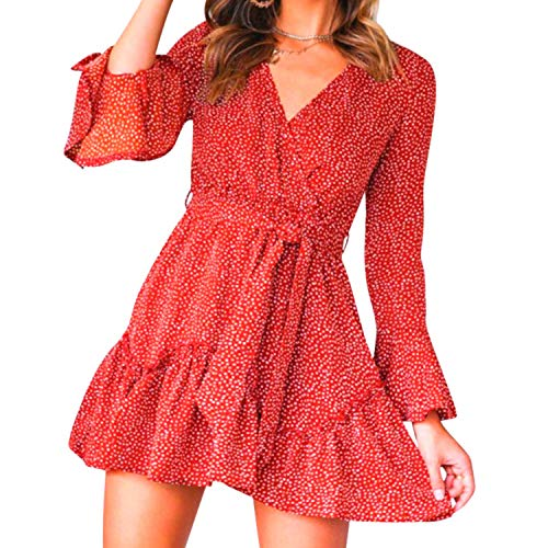 Juniesun - Vestido de verano elegante y sexy, con cuello en V, vestido largo acampanado, suave y suave, muy cómodo, rojo con lunares, medium