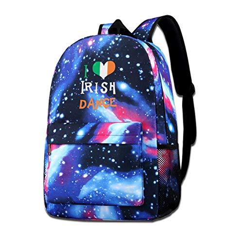 School Backpack I Love Irish Dance Galaxy Starry Sky Book Bag Kids Boys Girls Daypack