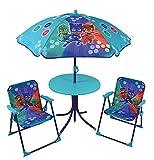 Fun House 712851 PYJAMASQUES Salon de Jardin pour Enfant avec 1 table, 2 chaises et 1 parasol