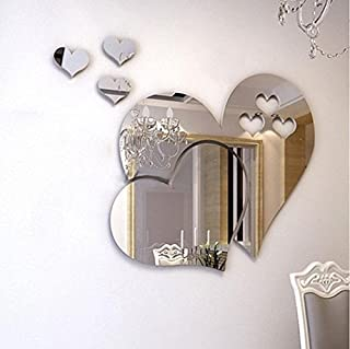 3D Mirror Love Hearts Wall Stickers & Murals,Home Decorative Art Decal for Boy Girl Nursery Baby Room Bedroom Kitchen Living Room,Home Décor Accents for Living Room, Wall Decals Murals Decor (silver)