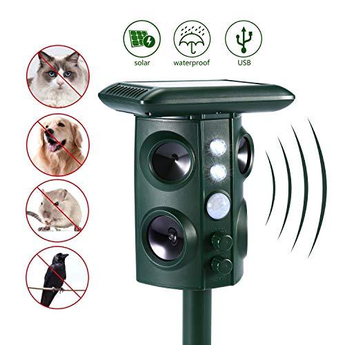 Beaspire Ultraschall Tiervertreiber Wasserdicht Solar Tierabwehr Abwehr Katzenschreck Hundeschreck Marderabwehr vogelabwehr