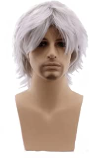 COSPLAZA Men Short Fluffy Hair Anime Cosplay Wigs Party Dress Costume Full Hair Silver