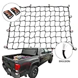 Orion Motor Tech Cargo Nets for Pickup Trucks, 3'x4' Latex Cargo Net Stretches to 6'x8' Universal Heavy Duty Truck Bed Net,12 Tangle-Free D Clip Carabiners, 4'x4' Mesh Holds Small Large Loads Tighter