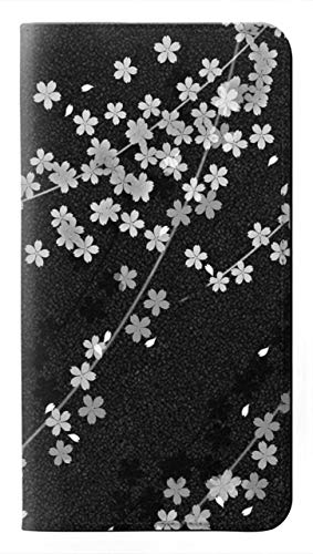 Innovedesire Japanese Kimono Style Black Flower Pattern Caso del Tirón Funda Carcasa Case para Motorola Moto X4