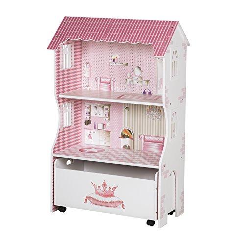roba Puppenhaus & Spielregal, Spielmöbel & Puppenvilla für Ankleidepuppen inkl. Aufbewahrungsbox f. Spielzeug, rosa