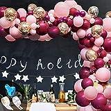 onehous Kit Arco Palloncini Rosa Borgogna 119 PCS, Metallizzato Confetti Palloncini Kit Ghirlanda Arco Decorazione per Ragazze Festa Compleanno, Matrimonio, Anniversario