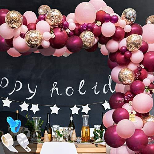 114pcs Kit Globo Guirnalda, Rosa borgoña Globos de Látex Metalizados Globos Confeti para Despedida de Soltera Fiesta de Cumpleaños Aniversario Decoración