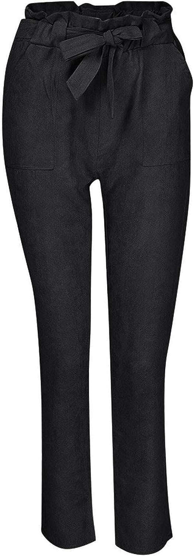 IKDXUF Women High Waist Slim Leggings Pant with Pockets Belted Elastic Waist Summer Solid Color Stretch Pants Sweatpants