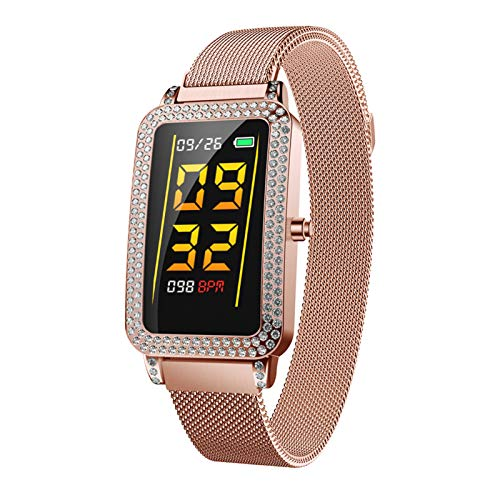 LTLJX Mujer Pulsera de Actividad,Monitores de Actividad,Pantalla Pulsómetro Fitness Tracker, Pulsera Smartwatch con 1.14 Pantalla a Color,con iOS y Android,Metálico