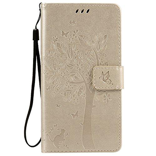 Nancen Compatible with Handyhülle Motorola Moto G2 / G LTE Flip Schutzhülle Zubehör Lederhülle mit Silikon Back Cover PU Leder Handytasche Etui Schale