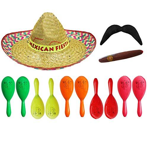 Fiesta mexicana SOMBRERO, 2 maracas de plástico, zumbo y tachuelas pegadas – perfecto para adultos salvaje oeste / alrededor del mundo – rojo