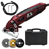 Mini Circular Saw Set, Professional Compact Circular Saw Machine, Multi-functional High Powered Circular Saw with 3 Carbide Tipped Blade for Cut Drywall, Tile, Metal, Wood