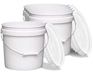 Terra Products Co. White Pails and Lids - Heavy Duty Buckets for Storage - Economical, Durable and Easy to Use (2Gallon 5Pack)