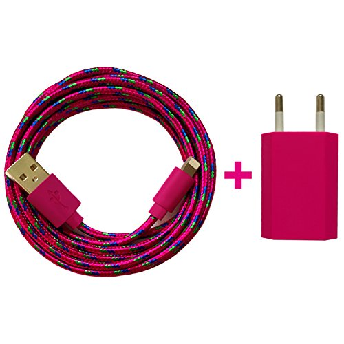 Preisvergleich Produktbild USB Netzteil 5V 1A + 1m Shiny Nylon USB Ladekabel Datenkabel Set kompatibel mit [Apple iPhone XS XR XS Max X 10 8 8 Plus 7 7 Plus 6S 6S Plus 6 6 Plus 5S 5C 5 SE,  iPad / iPod] pink