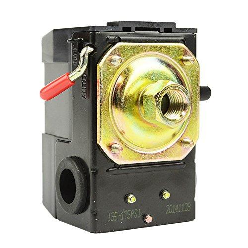 Interstate Pneumatics LF10-1H-HP Pressure Switch - 1/4 FPT One Port - Bend Lever Swicth - 135-175 PSI fits Dewalt Hitachi Emglo Makita Porter Cable Ridgid Rolair Air compressors