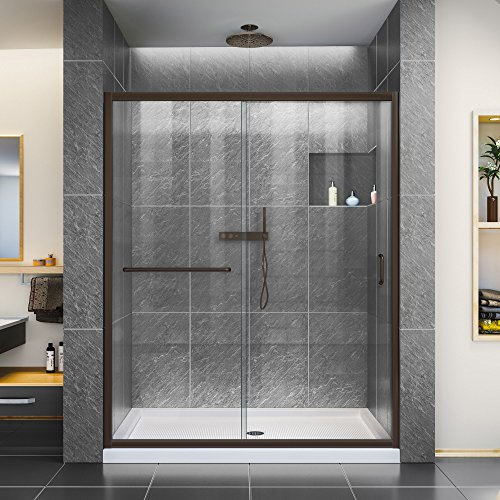 DreamLine Infinity-Z 56-60 in. W x 72 in. H Semi-Frameless Sliding Shower Door, Clear Glass in Oil Rubbed Bronze, SHDR-0960720-06