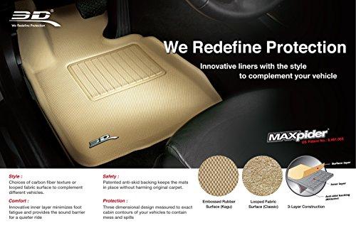 3D MAXpider Complete Set Custom Fit All-Weather Floor Mat for Select Dodge Challenger Models - Kagu Rubber (Black)