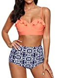 Ruffle Vintage High Waist Bikini Set Orange Plaid Strappy Push Up Swimsuit OTPB3