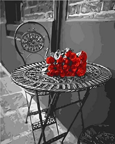 NA/ Pintura por numeros BricolajePintura por Kits de numeros para ninosPinceles y Pinturas Decoraciones para el Hogar Calle (16*20 Pulgadas) -- Mesa y Silla cartamo