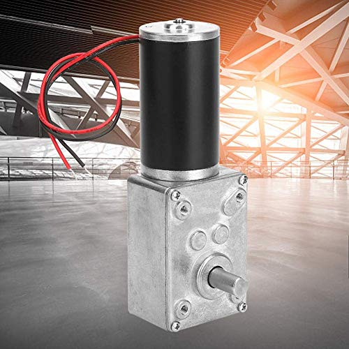ZLININ Acelera Reductor, de alta torsión Velocidades Reducir eléctrico caja de cambios de motor reversible Worm Gear Motor con eje de 8 mm 24V (150 rpm)