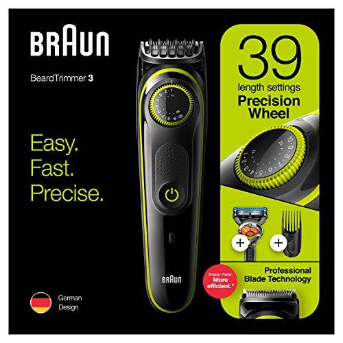 Braun BT3241 Recortadora de barba y cortapelos para hombre, 39 ajustes de longitud, Negro/Verde Eléctrico