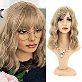 Wigs with Bangs for Women 14 Inches Short Bob Wavy Heat Resistant Synthetic Soft Full Hair Wig Shoulder Length Cute Wig for Party Cosplay Daily Use with Comfortable Wig Cap(14Inch,Light Brown Mixed Blonde #16/613)