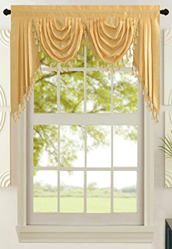 All American Collection New Attached Solid Faux Silk Double Waterfall Valance with Tails (55 x 32, Gold Valance)