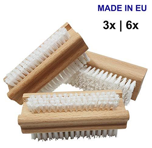 Pilix Harte Holz Nagelbürste PP Borsten | 3 Stück | hart gegen Schmutz, Öl und Fett | griffiger unbehandelter Holzkörper | Handbürste mit Kunstborsten | Handwerkerbürste | Werkstatt