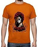 latostadora - Camiseta Catrina para Hombre Naranja M