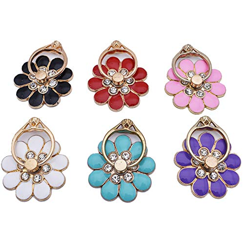 JFGUOYA (4pcs) Universal 360° Rotating Flower Shaped Mobile Phone Ring Holder Cute Round Holder Metal 360° Rotating Hand Grip, Compatible with iPhone Samsung Ipad Case Tablet (Color : 8 Colors)