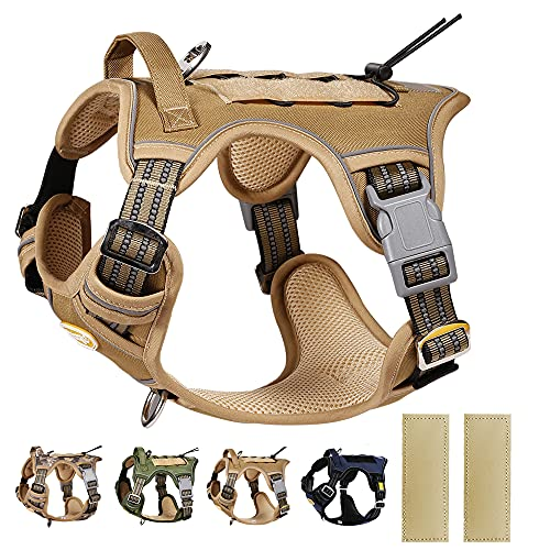 PETAGE Tactical Service Dog Harness No Pull, Reflective Military Dog Harness with Handle, Service Dog Vest for Training, Adjustable Working Pet Vest Easy Control for Small Medium Large Dogs(Tan-M)