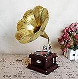 WULOVEMI Escultura Vintage Vintage Estilo Europeo Colocación Modelo de fonógrafo Decoración de Iron Grabador Máquina Artesanía Mobiliario Artesanía