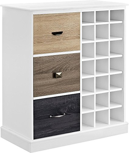 Ameriwood Home Mercer Wine Cabinet with Multicolored Door Fronts, White