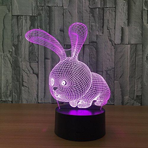 Ledlamp met optische illusie konijnen, 3D-nachtlampje, 7 kleuren, de decoratieve lamp van de bureaulamp voor de woonkamer, slaapkamer, kantoor, kinderdagverblijf