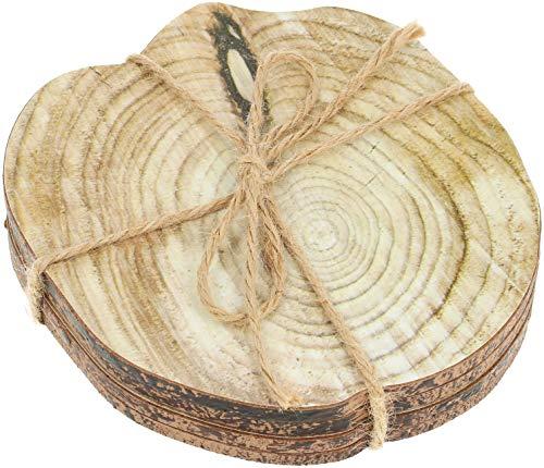 com-four® 4X Holz Untersetzer mit Baumscheiben Aufdruck - Dicke Holzscheibe zur Dekoration - Deko-Untersetzer - Runde Baumscheibe zum Basteln
