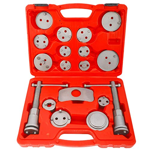 KUNTEC 18 Pieces Disc Brake Caliper Tool Set and Wind Back Kit, Compressor, Spreader Tool Set for Brake Pad Replacement
