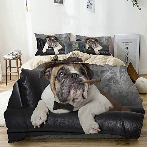 Beige Bettbezug, Porträt der englischen Bulldogge, die in einem schwarzen Ledersessel mit einer Zigarre ruht, 3-teiliges hochwertiges bedrucktes Mikrofaser-Bettwäscheset, modernes Design mit Weichheit