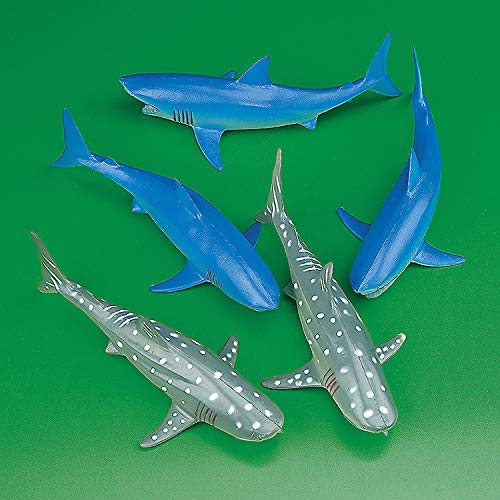 Vinyl Sharks (12 pieces) Shark Party, Drink Accessories, Pool Party Decorations