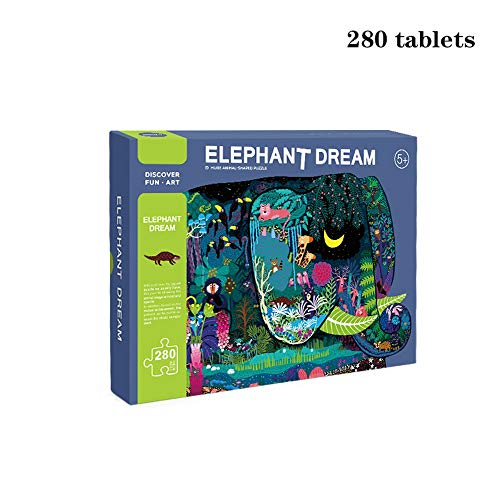 Jigsaw Puzzle-Children's leerrijke puzzel Creative Puzzle 280 Pieces Of Elephant Night Gedichten